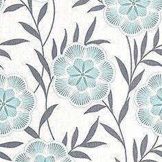Teal Flora wallpaper from Debenhams