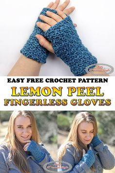 Crochet Designs Learn how to crochet Fingerless Gloves using the Lemon Peel Stitch for which there is a video tutorial available. This free crochet pattern is really easy and quick to make. Crochet Fingerless Gloves Free Pattern, Crochet Mittens, Fingerless Mittens, Basic Crochet Stitches, Crochet Basics, Easy Crochet, Free Crochet, Crochet Hats, Crochet Granny