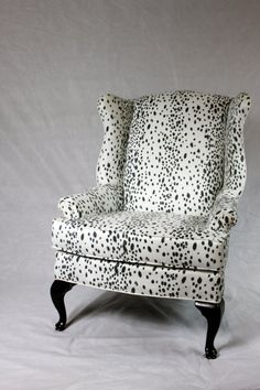 Dalmatian Fabric Faux Suede Wing Back Chair