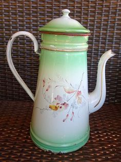 Antique 1800s French Enamelware Biggin Coffeepot with delightful flower bouquets!