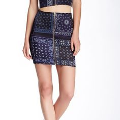 Adidas x Opening Ceremony neoprene front zip skirt A collaborative piece between adidas and opening ceremony. Blue patchwork bandana print. Size L Opening Ceremony Skirts Mini