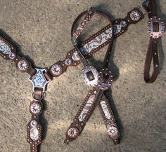 Turquoise Floral Tack Set with Copper Flower Conchos by Running Roan Tack