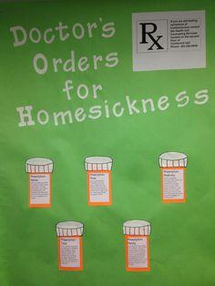 September Bulletin board for homesickness/Health and wellness center