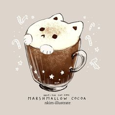 art kawaii - Cocoa Marshmallow Cat by Nadia Kim Chat Kawaii, Arte Do Kawaii, Kawaii Cat, Cute Food Drawings, Cute Animal Drawings, Kawaii Drawings, Cute Food Art, Cat Drinking, Kawaii Wallpaper