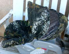 Mossy Oak Camo with dark grey Minky Car seat by SqueakyBugBabies, $37.00