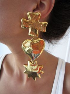 these are the coolest. enormous vtg lacroix earrings