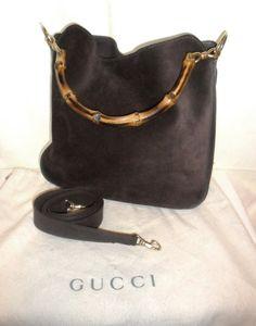a000c8c41d39c Vintage AUTHENTIC GUCCI Brown SUEDE Handbag Bamboo Handles Leather Interior  W  Detacahable Strap
