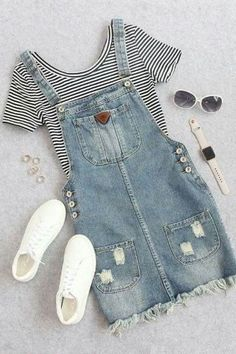 Cute summer thin striped crop t shirt with denim overall dress romwe com best punk outfits ideas Teen Fashion Outfits, Mode Outfits, Outfits For Teens, Dress Outfits, Summer Outfits, Girl Outfits, Outfit Jeans, Dress Summer, Summer Clothes