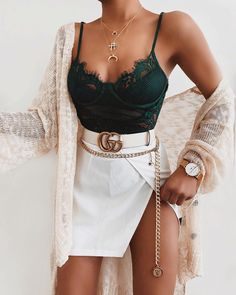 Summer outfit white mini skirt green lace top #outfitdetails #summeroutfitideas #summeroutfitwomen #outfitinspiration #outfitideasforwomen #outfitstyle #fashionoutfitsdresses