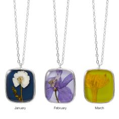 Sourced from around the world, each flower is specially picked for its delicate beauty. Set in a silver-plated brass bezel.