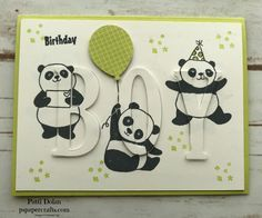 DIY Eclipse card for a boy using the free Sale-A-Bration Party Panda stamp set from Stampin Up and the Large Letter Framelits Boy Cards, Kids Cards, Mini Albums, Panda Party, Birthday Cards For Boys, Puzzle, Stamping Up Cards, Baby Shower Cards, Thing 1