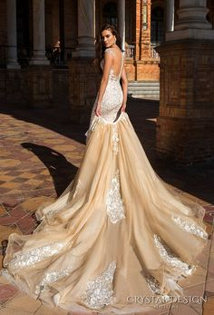 crystal design 2017 bridal cap sleeves jewel neckline heavily embroidered bodice princess elegant ivory color detachable skirt sheath wedding dress a  line overskirt  low back long train (odri) bv