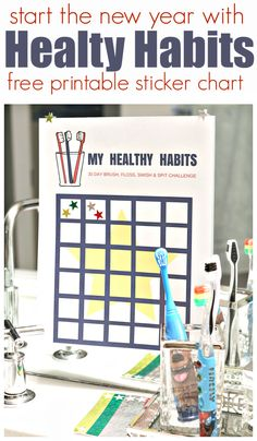 New Year= new habits! Use this Healthy Habits free printable sticker chart!