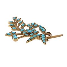 @Overstock - The beautiful contrast of a vintage patina finish and bright turquoise make this estate brooch a true find. The pin is crafted of 18-karat yellow gold with an antiqued finish and secures with a slide barrel clasp.http://www.overstock.com/Jewelry-Watches/18k-Yellow-Gold-Turquoise-Leaf-Estate-Brooch/6232674/product.html?CID=214117 $1,770.99