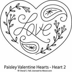 Embroidery Designs Paisley Hearts Pattern Set: Paisley Heart 2 - Try your hand at redwork embroidery with these free and reasonably-priced redwork hand embroidery patterns. Embroidery Hearts, Embroidery Patterns Free, Crewel Embroidery, Hand Embroidery Designs, Embroidery Applique, Cross Stitch Embroidery, Machine Embroidery, Embroidery Thread, Embroidery Supplies