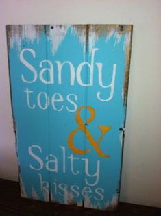"Sandy Toes & Salty Kisses Beach Sign - Beach Decor - Beach House - Beach Theme - Coastal Decor - Hand Painted 10 1/2""w x 16""h hand-painted"