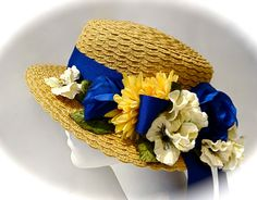 Straw Boater Summer Hats Edwardian Royal Blue by Marcellefinery, $62.00