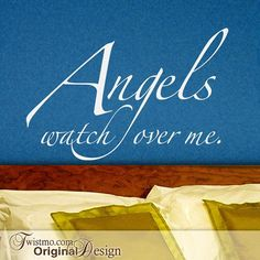 Angels Wall Quote - Angels Watch over Me Vinyl Wall Decal, Inspirational Quote, Wall Decal Quote, Angel Home Decor, Guardian Angel