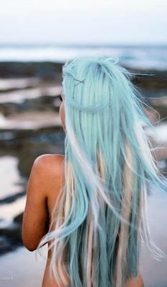 Sky Blue Long Hair with White Highlights!!!>>>>blonde instead of white?