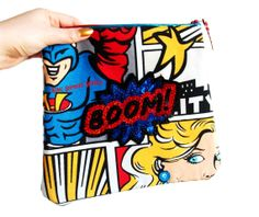 Roy Lichtenstein clutch bag with comic sequin by KingSophiesWorld, £89.99