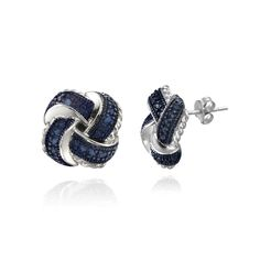 Add sophistication to your style with these chic blue diamond earrings. Set in sterling silver, these gorgeous earrings have a love-knot design that will draw lots of compliments. They secure with a butterfly clasp and have a lovely polished finish.