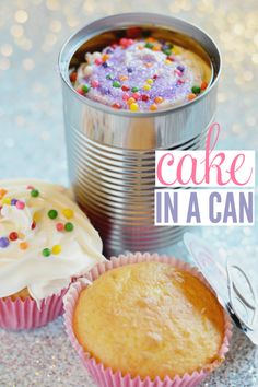 A fun way to give a cupcake as a gift! This cake in a can recipe is simple and fast