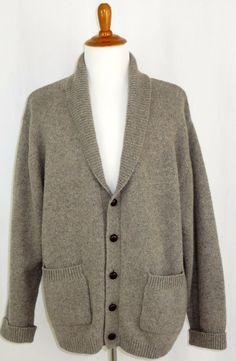 Mens Orvis Wool Nylon Cardigan Sweater Shawl Collar Faux Leather Buttons Grey XL #Orvis #Cardigan