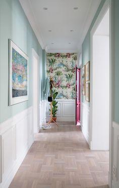 Rikkes Room, hallway, Pierre Frey wallpaper, Teresas Green, Farrow and Ball
