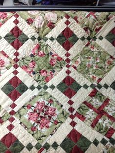 Four Patch Posie- Quilted by Harriet