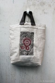 Unique Hand Embroidered Linen Tote Bag by TrivialityLab on Etsy, $65.00