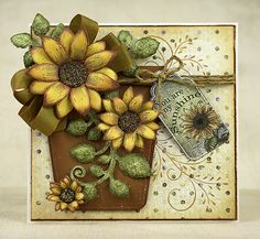 hand crafted card: Sunny Sunflowers by stamptress1 ... decuoupage styling with Heartfelt Creations papers ... delightful dimension and warm colors ...