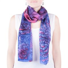 Hand painted blue and pink silk scarf / purple by CeliaEtcetera