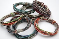 Fiona Wright, United Kingdom, Bracelets, newspaper very different from the bead ones. made like