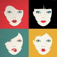 Combine lips and eyes with any of the 6 hairstyles available to get fashionable avatars, merchandise, packaging, stationery and more! Just drag and drop a few items and you're set. The colorful and minimalistic style of the illustrations makes them ideal for serigraph printing, allowing you to easily create many copies of the same design. This is also a great bonus if you want to print the faces on t-shirts, posters, flyers, etc.