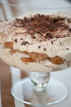 Baileys tiramisu - So pretty and sooooo good!  The Trifle Serving Bowl is stunning too!  (download PDF recipe)