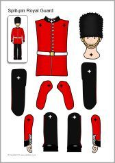 A fun activity in celebration of the Queen's Birthday tomorrow. Split-pin Royal Guard and horse