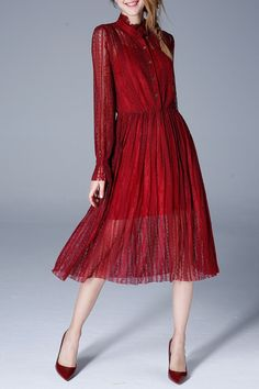 Olisi Wine Red See Through Lace Shirt Dress | Shirt Dresses at DEZZAL