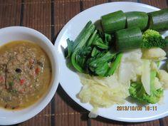 น้ำพริกปลาป่น ผักต้ม/ Nam Prik Pla Pon + Pak Tom/ Northeastern style fish condiment to be eaten with par-boiled or fresh vegetables.