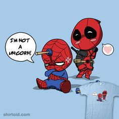 """""""Unicorn Spidey"""" by christianlambiase / Taylor Ross Deadpool and Spider-Man I'm not a unicorn! Deadpool Chibi, Deadpool X Spiderman, Spiderman Anime, Cute Deadpool, Deadpool Unicorn, Deadpool Comics, Deadpool Tattoo, Spideypool, Superfamily"""