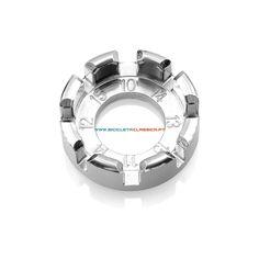 Chave de raios múltipla en aço forjado cromado de 8 ranhuras para montagem de rodas de bicicletas. Chave de raios de Super B (ref. TB-5510).