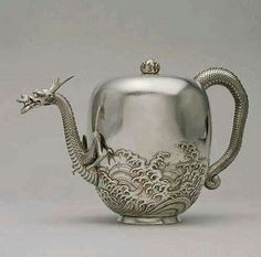A rare antique from Japan. Dragon teapot by Miyata Nobukiyo (Japanese, 1817-1884) Date: ca. 1876 Medium: Silver with traces of gold accents Location: The Walters Art Museum.