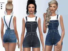 denim romper with white shirt. Found in TSR Category 'Sims 4 Female Everyday'casual denim romper with white shirt. Found in TSR Category 'Sims 4 Female Everyday' The Sims 2, Sims Four, Sims 4 Cas, Sims Cc, Denim Romper, Denim Outfit, Sims 4 Black Hair, The Sims 4 Cabelos, Pelo Sims
