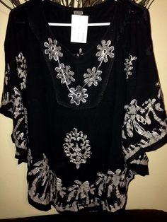Women Kaftan Tunic Kurti Top Rayon Black Floral Embroidered Sz L XL | eBay