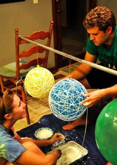 String Balls for Decorations Hanging from trees or from ceiling rafters via fisherman's wire