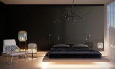 chambre à coucher noire aménagée avec un lit suspendu, des lampadaires Oda et une cheminée ultra moderne