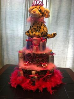 Cheetah/ Leopard  Diaper Cake by DivaDiapers on Etsy, $95.00
