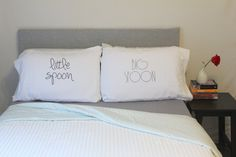 "Amazon.com - Oh, Susannah Big Spoon Little Spoon V1 Couples Pillowcases Wedding Present or Engagement Gifts for Couples Boyfriend Pillow Cases His and Her Pillow Cases (Two 20x30"" Pillowcases) -"
