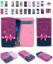 Universal Bow Leopard Case For Samsung Galaxy  s advance i9070 Young 2 Flip PU Leather Pouch Cover Wallet Cell Phone Bag