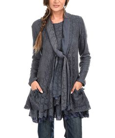 Blue Lace Layered Scoop Neck Tunic & Scarf