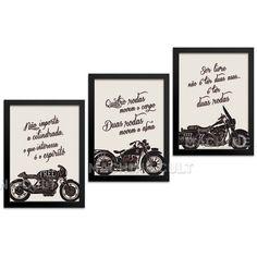 Combo - Quadros Frases Moto - Machine Cult | Loja online especializada em camisetas, miniaturas, quadros, placas e decoração temática de carros, motos e bikes